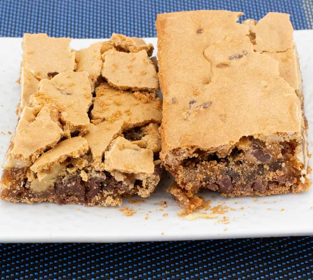 side shot of walnut chocolate chip blondies shattered tops