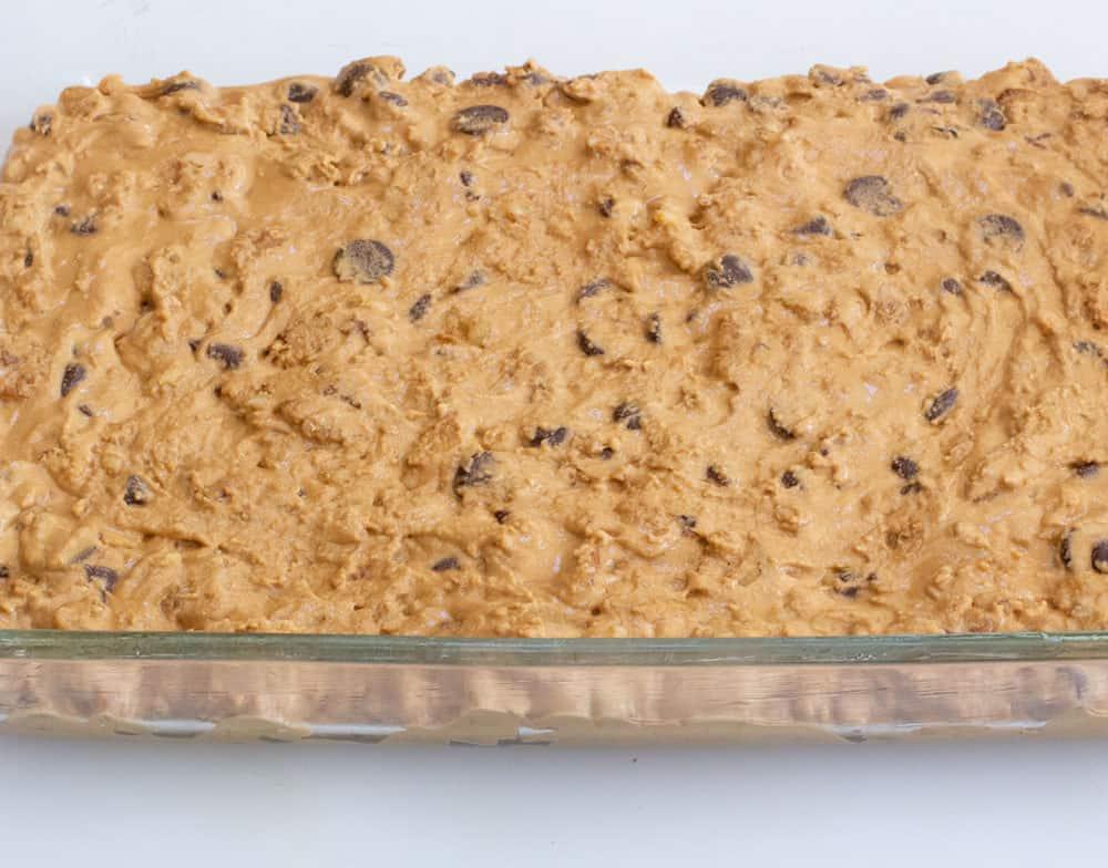 uncooked walnut chocolate chip blondies