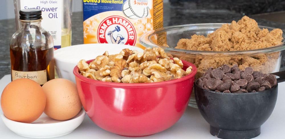 ingredients for walnut chocolate chip blondies