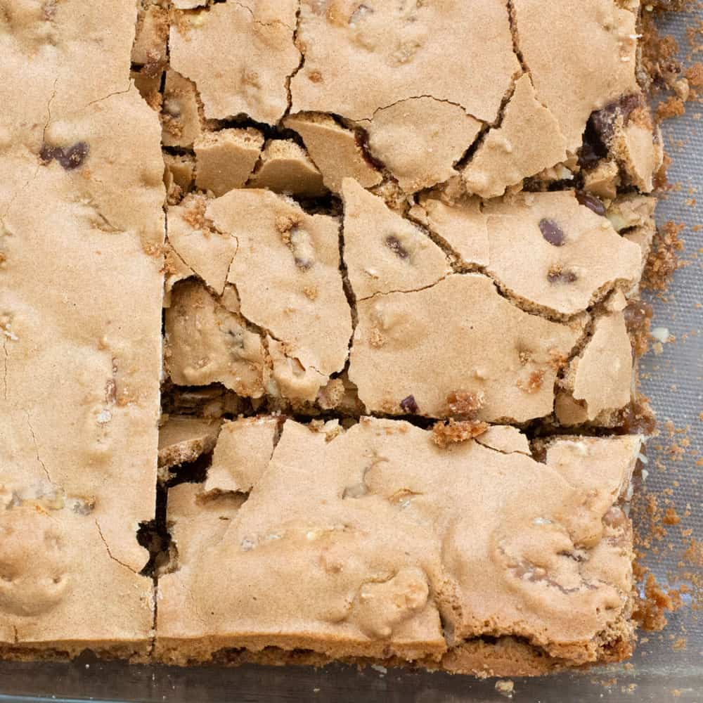 shattered tops of walnut chocolate chip blondies