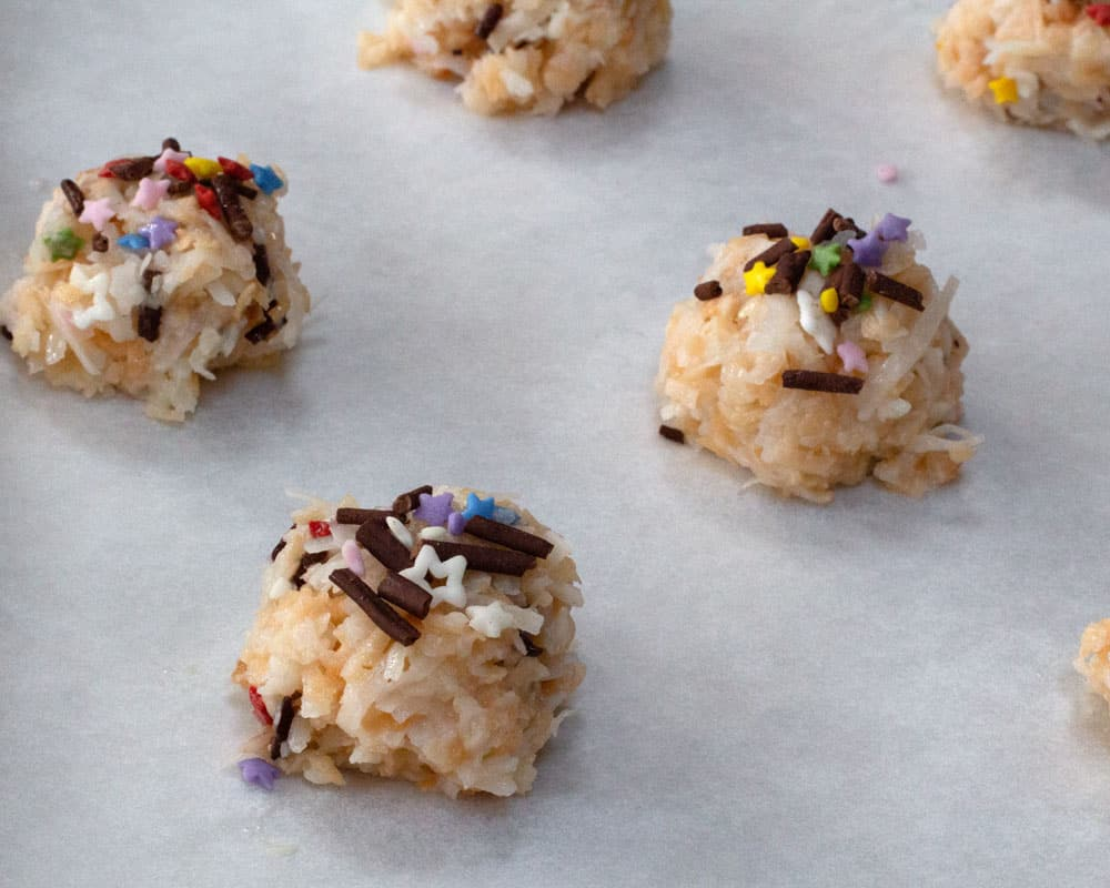 colorful Passover coconut macaroons ready to bake
