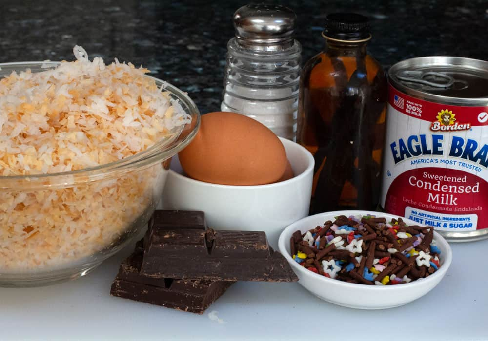 ingredients for colorful Passover coconut macaroons