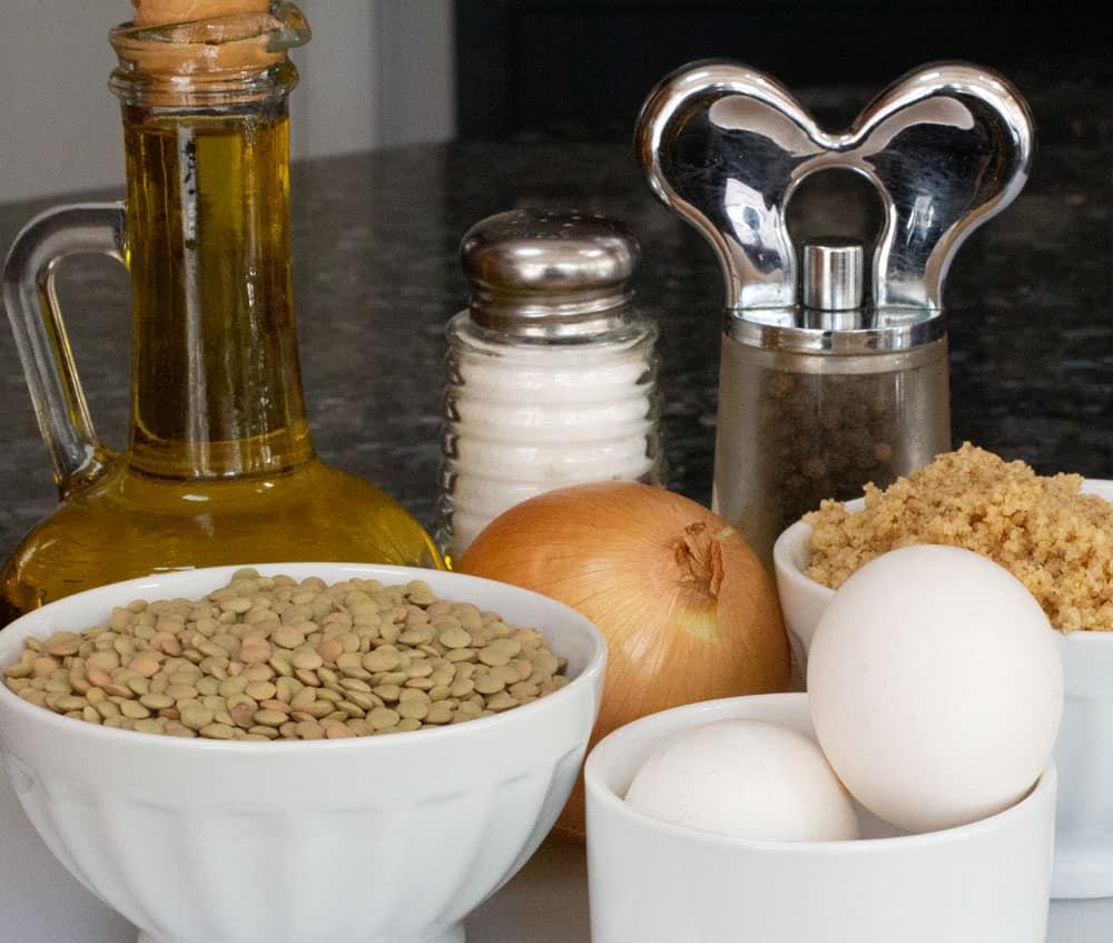 ingredients for vegetarian chopped liver with lentils