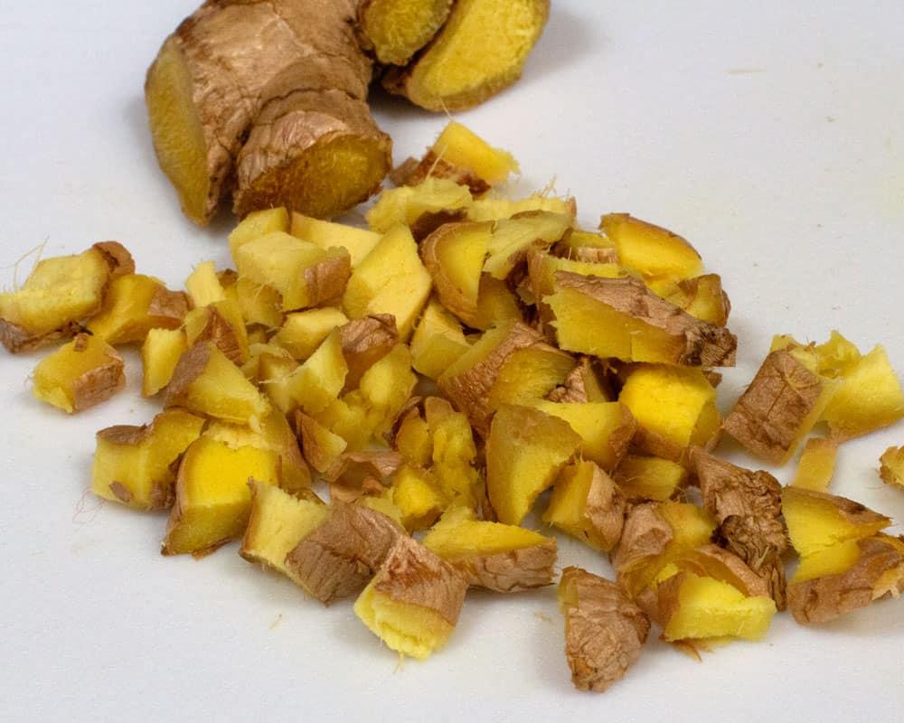 chopped ginger for rhubarb ginger jam