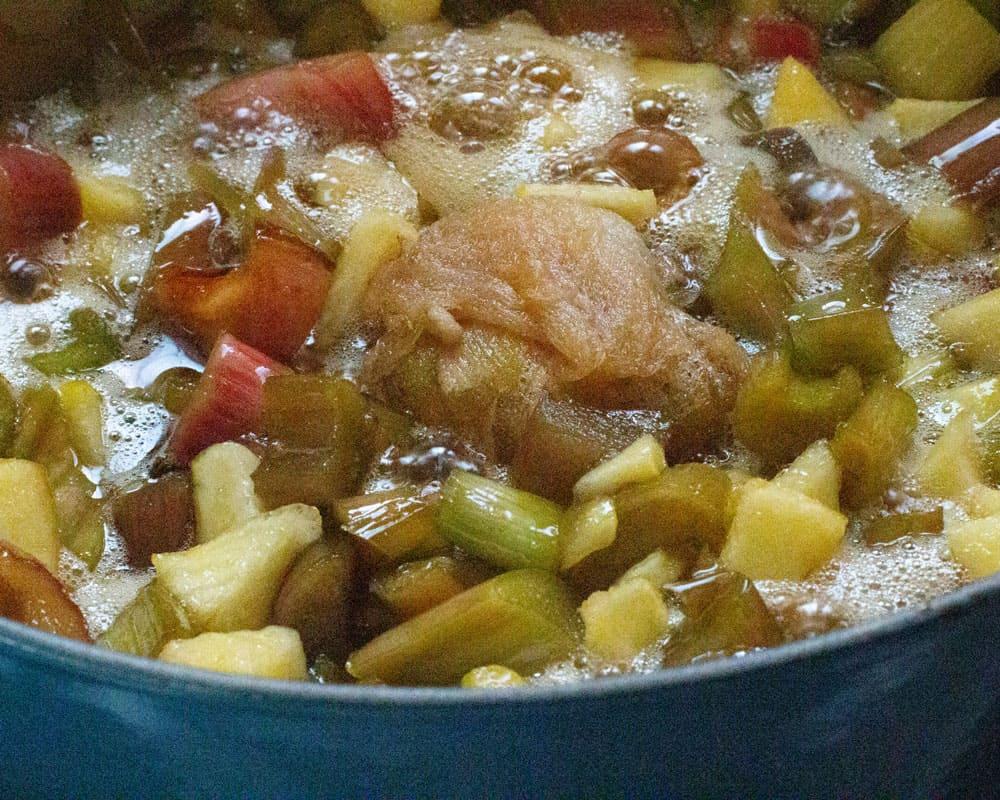 fruit, ginger, and liquid simmering for rhubarb ginger jam
