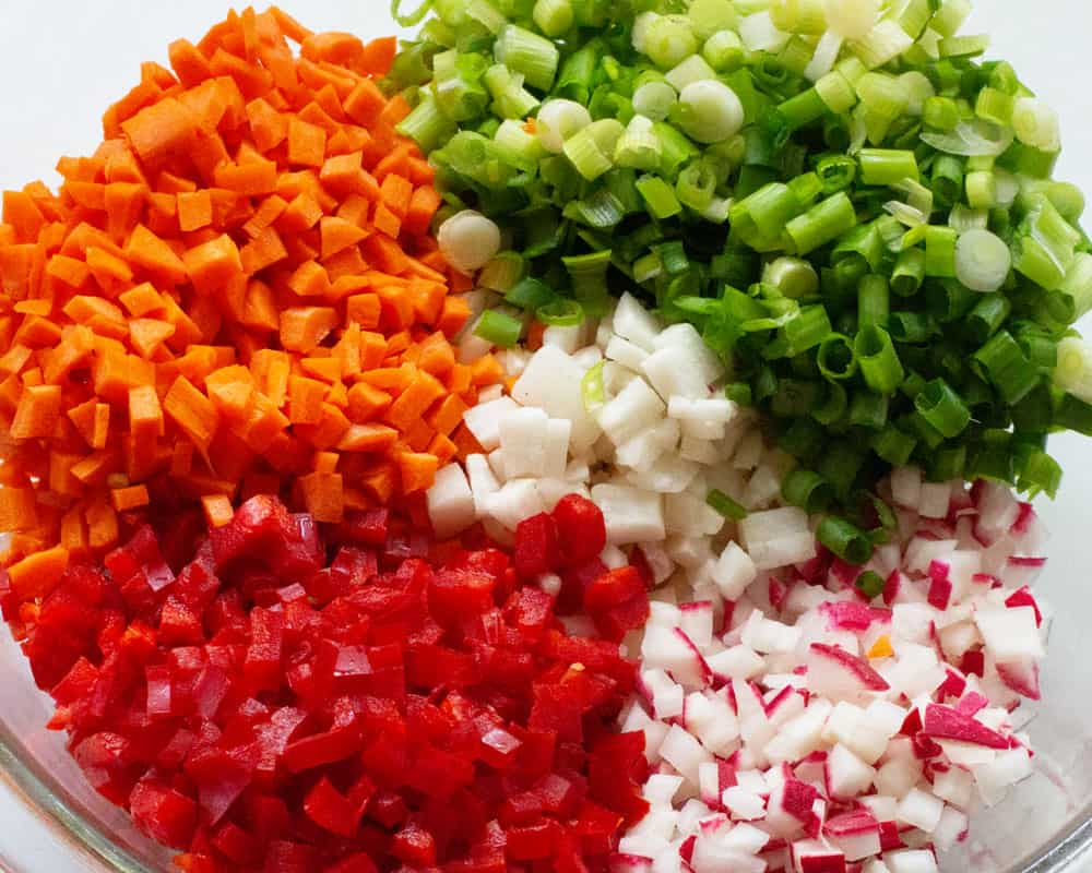 chopped vegetables unmixed for confetti rice vegetable salad