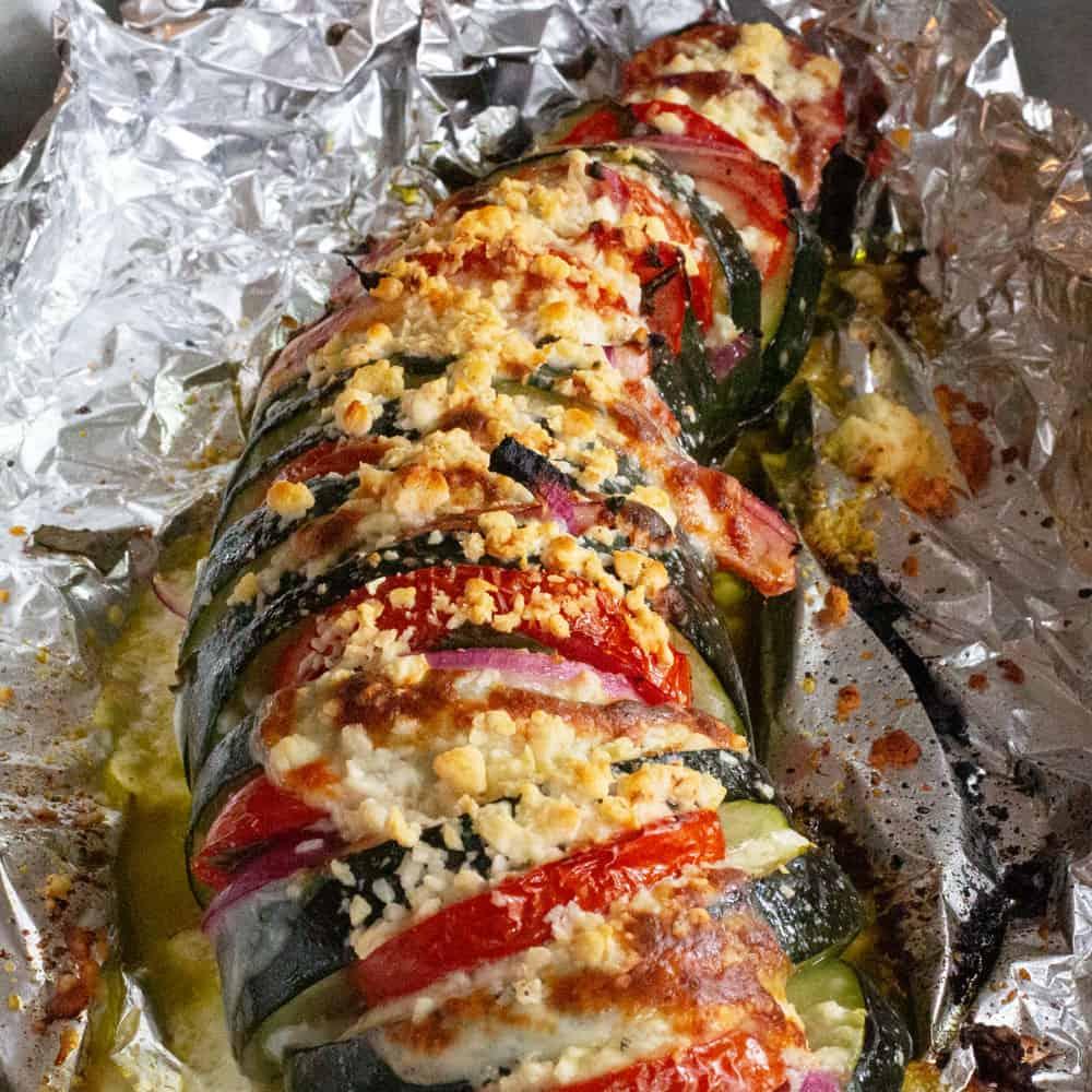 hasselback zucchini done, still in foil packet