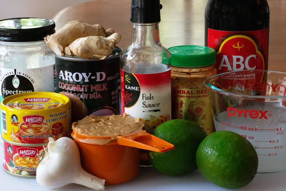 ingredients for peanut curry sauce