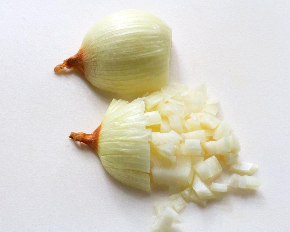 dicing onions for pletzel