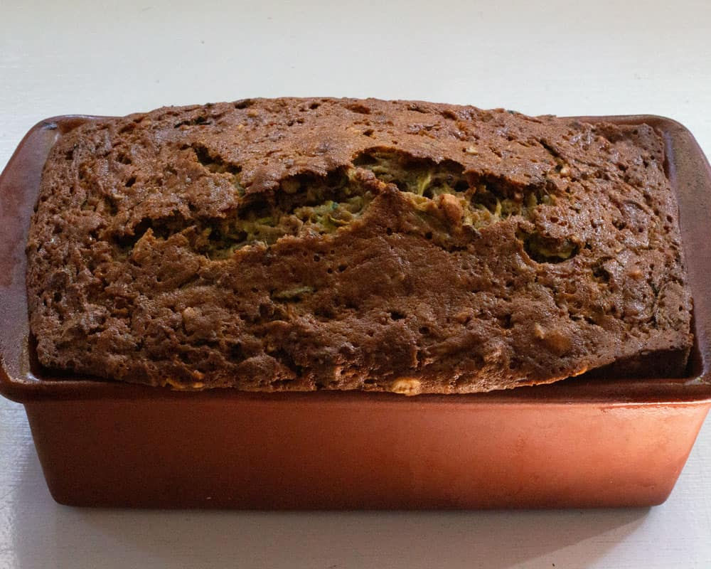 baked loaf of zucchini bread